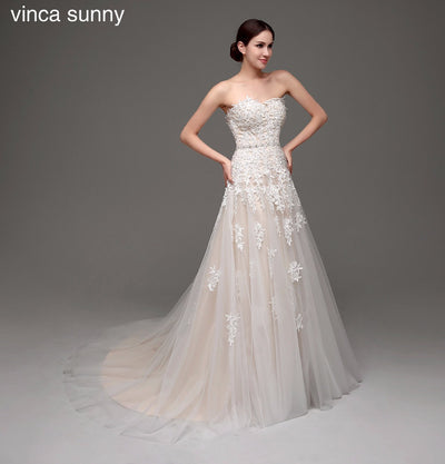 Vinca sunny 2018 Champagne Wedding Dresses Vestido de Noiva Bride Dresses  robe de mariag Wedding Gowns c6da392c16f8