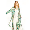 Sexy Kimono robe Cardigan Women Fashion Green Floral Print sashes Costumes Beach Long Blouse shirts Japanese chinese boho kimono