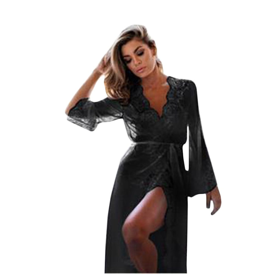 Casual Black White Hollow Out Princess Nightgown Summer Women Embroidery Long Sleeve Mesh Lace Sleepwear