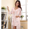 Freeshipping Spring/Autumn Sexy Women's Spaghetti Strap Nightgown Sleepwear Female Silk Robe Twinset Lounge Set