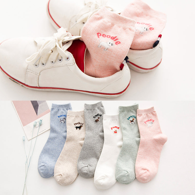 14ad2c3540f3f 1 Pair Small Animal Printed Socks Autumn Winter Cotton Long Socks Warm  Comfort Soft Ladies Female