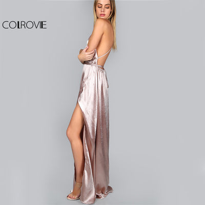 COLROVIE Maxi Party Dress Women Pink Plunge Neck Sexy Cross Back Wrap High  Slit Summer Dresses d94150857