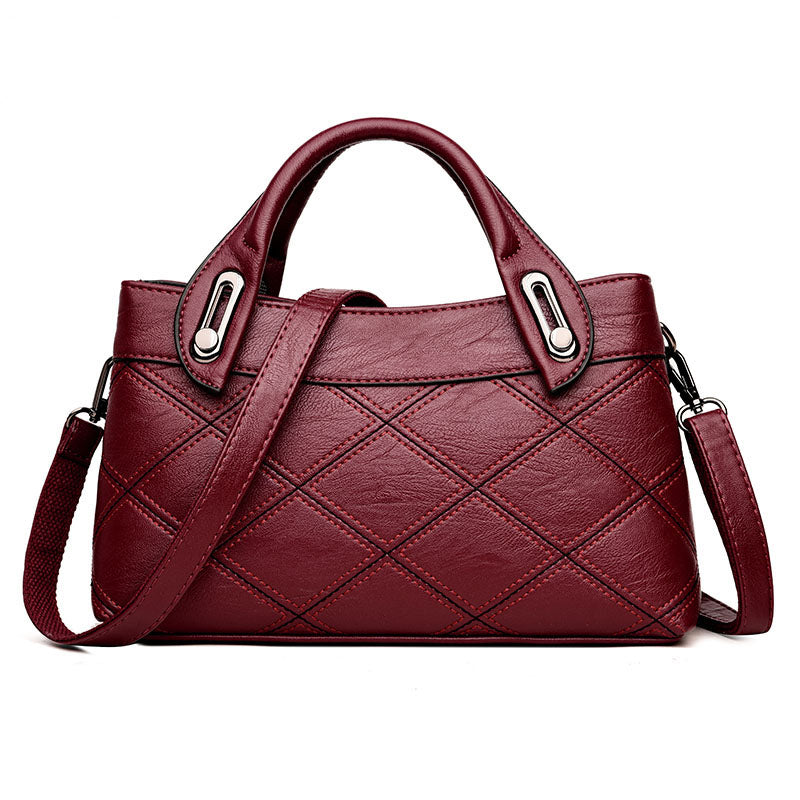 Fashion Patchwork OL Style Women's Genuine Leather Handbags Plaid Tote Bag Ladies Shoulder Bags For Women Messenger Bags