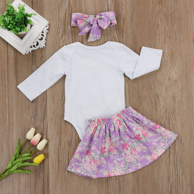 0-3Y Toddler Girls Winter Clothing Set Long Sleeve Romper Tops Mini Bowknot Skirt Hairband 3pcs Floral Baby Infant Outfits 3pcs - upcube