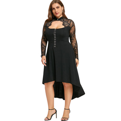d2428a54849 Gamiss Women Spring Plus Size 5XL Black Lace Up Dip Hem Keyhole Dress Women  Gothic Long