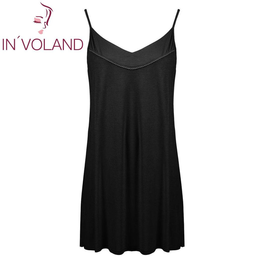 IN'VOLAND Women Slip Sleepwear Dress Plus Size XL-5XL Summer Lounge Strappy Chemise Large Nightgown Dresses Vestidos Oversized