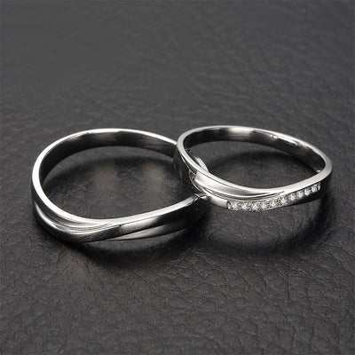 0.01ct/men 0.03ct/women Diamond Ring 18K White Gold Wedding Rings Couple Set Genuine Gold Engagement Ring Wedding Band - upcube