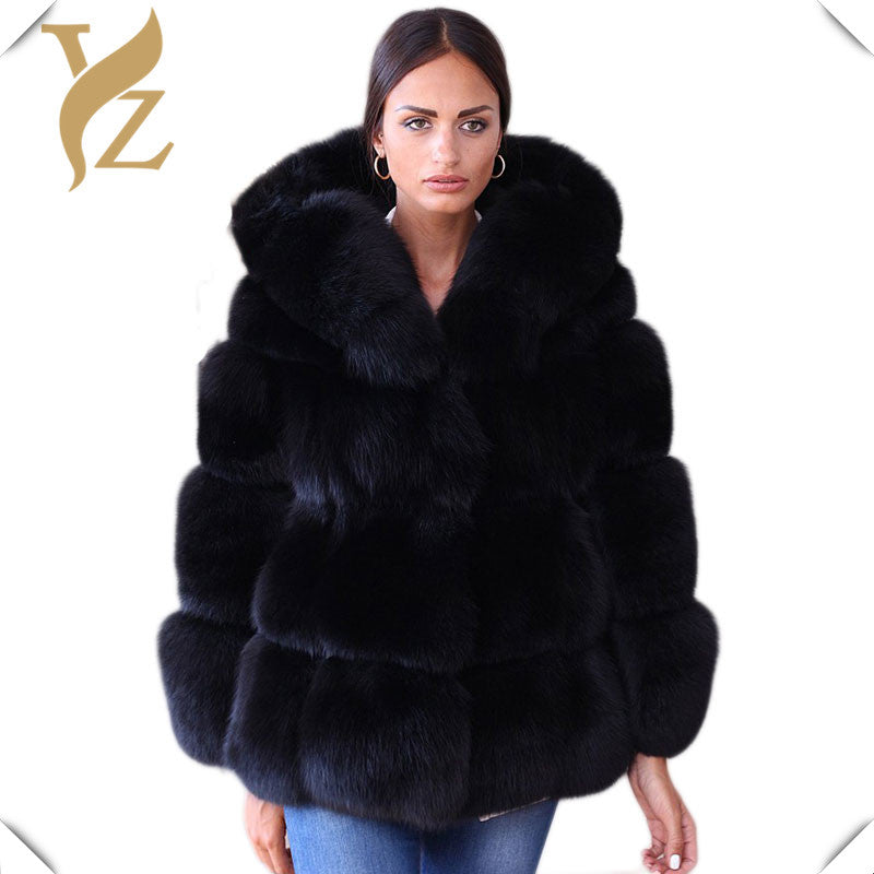 High Quality Whole Skin Fox Fur Coat Thick Warm Winter Hooded Fur Women's Overcoats Jackets Fashion Design Plus Size Real Fur