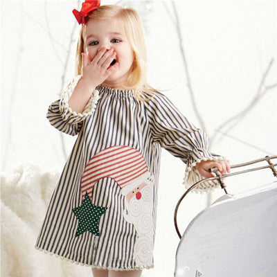 0-5Y Baby Girls Kids tassel bottom dress Casual Xmas Cotton Tutu Dress Clothes Christmas Santa Claus - upcube