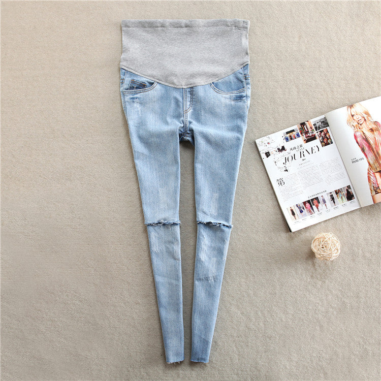 spring and autumn thin section of pregnant women's pants broken feet jeans summer in materity