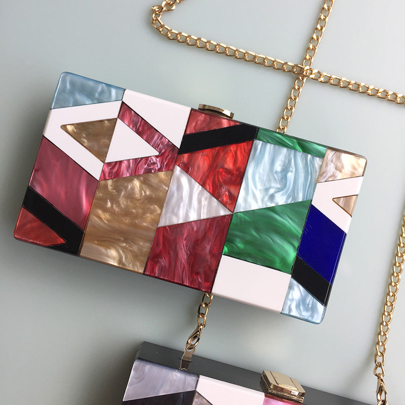 Good Quality Fashion Stitching Color Acrylic Women's Party Clutch Bags Chain Purse Female Crossbody Mini Messenger Bag Flap