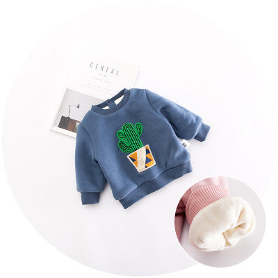 0-3 years New 2017 Wholesale Autumn Long Sleeve O-Neck Cactus Embroidery Kids Coats - upcube