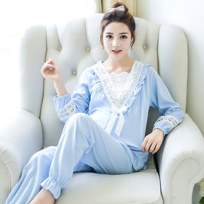 946f5e569e239 Pengpious Postpartum Women Breastfeeding clothes Set Cotton Hollow Out Lace  Long Sleeve Patchwork V-neck