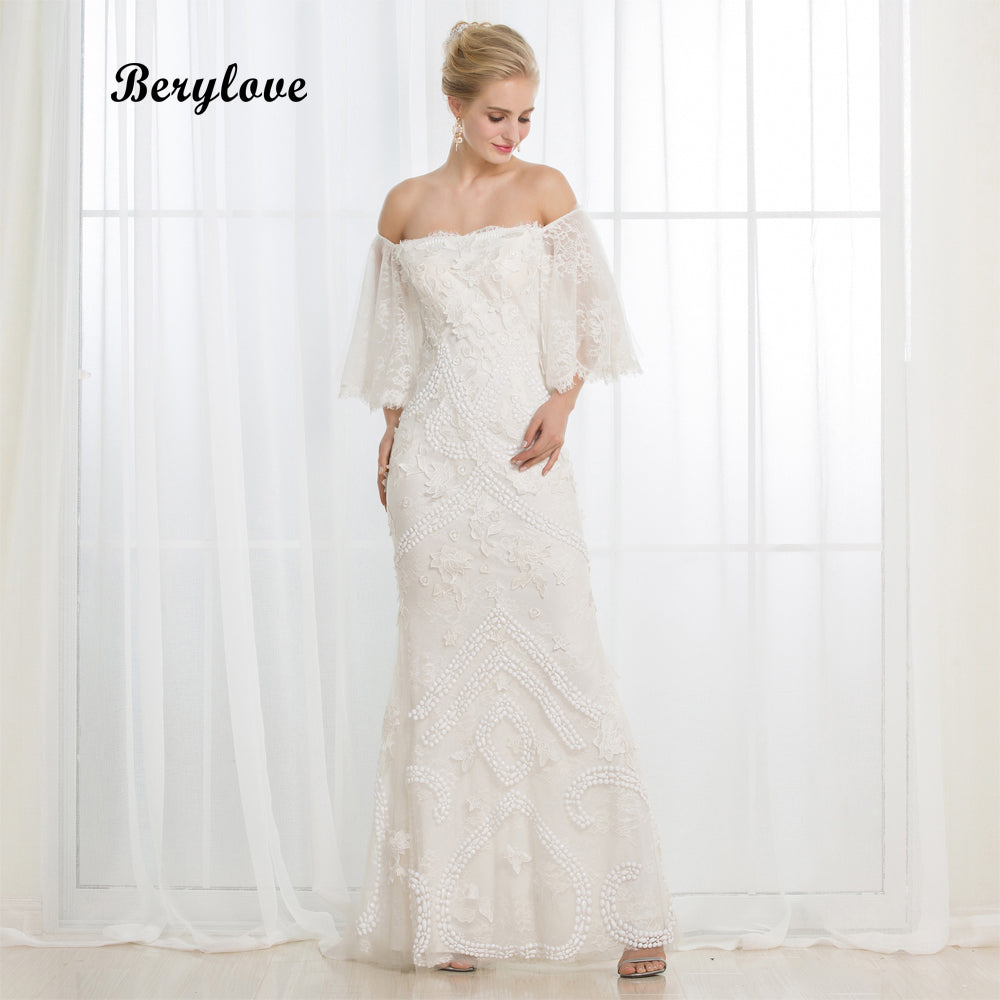 a9bf22c4d23 Beaded Lace Wedding Dress With Sleeves