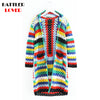 2018 Spring Rainbow Sweaters Long Sleeve Knitted Casual Long Cardigan Femme Women Loose Knitwear Fashion Vogue Beach Style Mujer