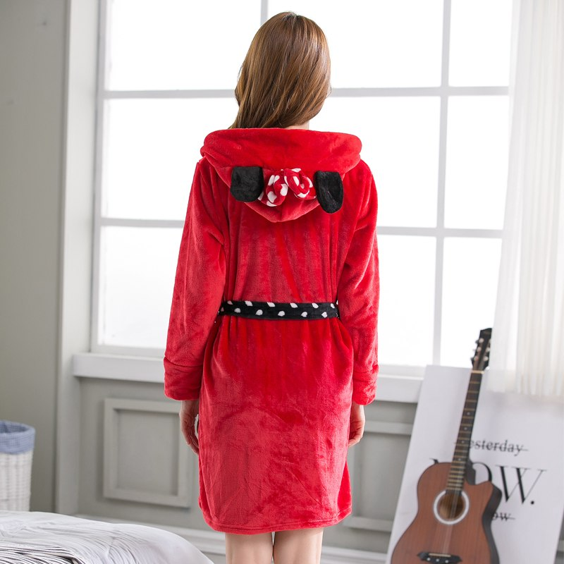 Winter Bathrobes Woman Red Flannel Minnie Cure Lovely Cartoon Hooded Lady Robe Female Nightgown High Quality 2018 Cosplay M L XL