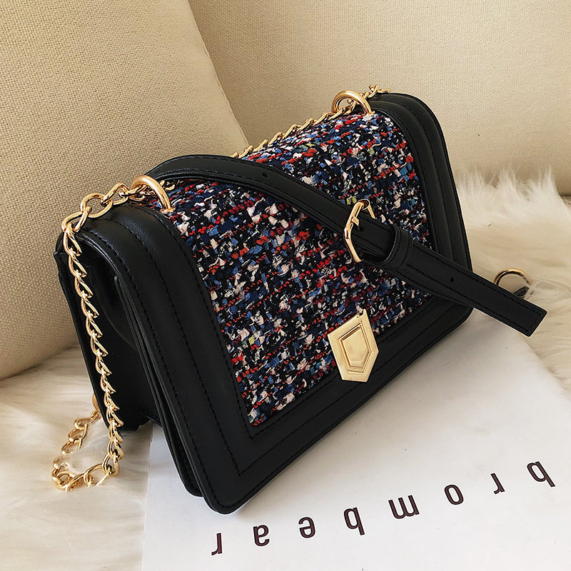 Fashion Ladies Square bag 2019 New Quality PU Leather Women's Designer Handbag Splicing Woolen Chain Shoulder Messenger Bags