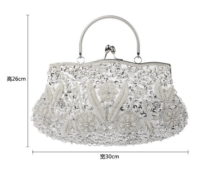 Vintage Handmade Embroidery Wedding Bag Woman Evening Bag Rhinestone Party Clutch Crystal Women's Clutch Banquet Beaded Handbags