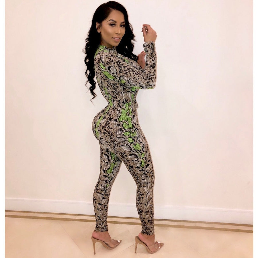 OKAYOASIS Sexy Women Long Sleeve Snake Print Bodycon Night Club Jumpsuit Elegant One Piece Straight Party Jumpsuit Rompers