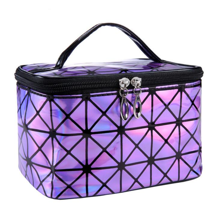 Hologram bag women's geometry lattic handbag laser silver makeup bag  Free Shipping luxury handbags women bags designer