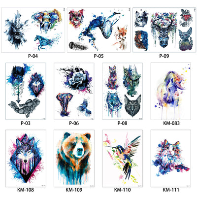 5b2fcb855 1x DIY Body Art Temporary Tattoo Colorful Animals Watercolor Painting  Drawing Horse Butterfly Decal Waterproof Tattoos
