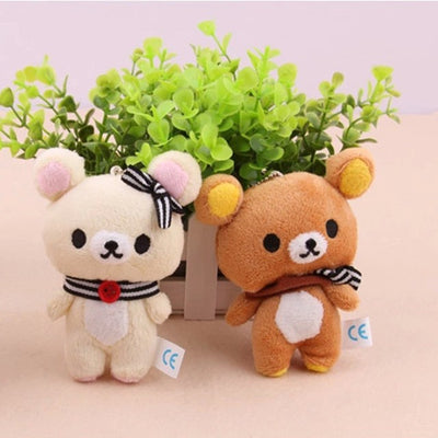 1pcs Kawaii Standing 11CM Lover Rilakkuma Bear Plush Stuffed TOY , Soft Figure DOLL , Key Chain Design ; BAG Pendant Charm TOY  UpCube- upcube
