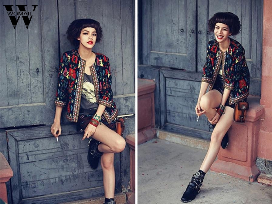 Stylish JA11 NEW Fashion Women Slim Floral Outwear Parka Trench Coat Jacket Bestselling ST6
