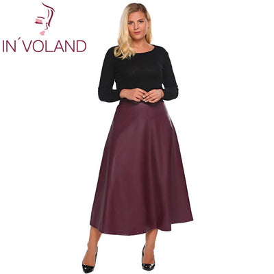 IN VOLAND Women Leather Skirt Maxi Plus Size 5XL Autumn Winter High Waist  Flared A 9ad411183b40