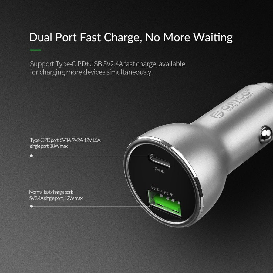 ORICO Quick Charge 3.0 USB Car Charger Dual USB Port Smart Charger PD Fast Charging Charger Adpater for Mobile Phone & Tablet