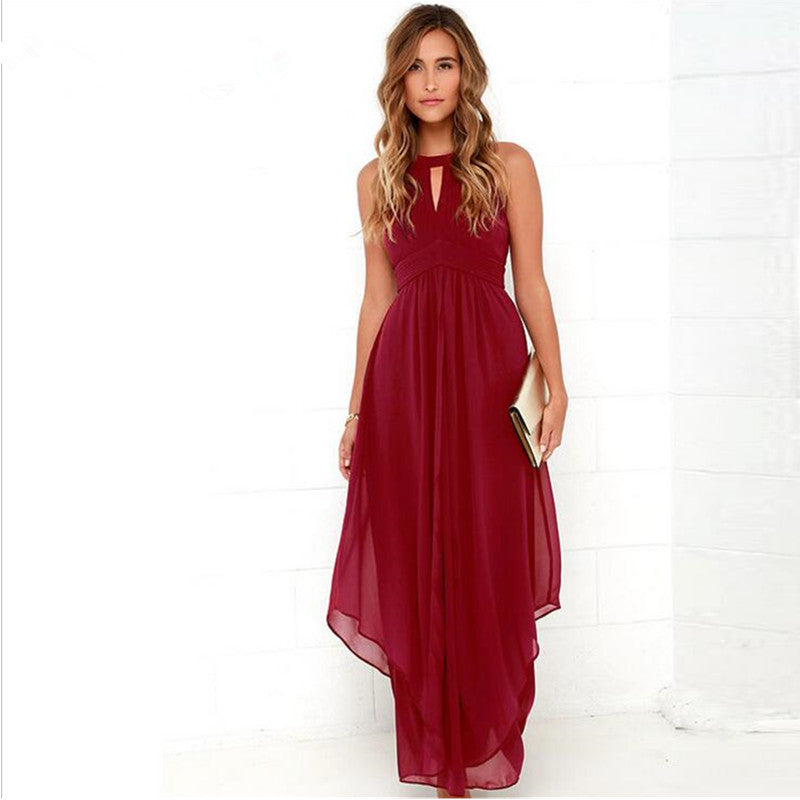 2017 Brand High Quality Wine Red Dress Wedding Party Maxi Dress Women Long Dress Summer Hollowout Sexy Vestidos