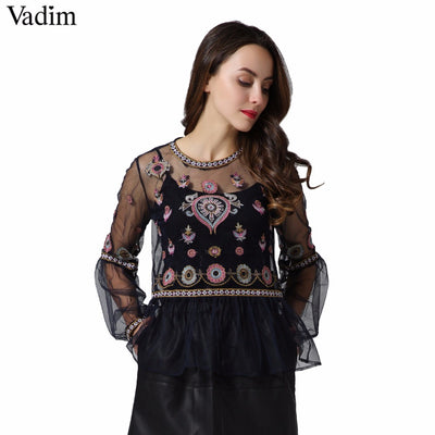 d9189ab7a5 Vadim women vintage floral embroidery mesh shirts see through transparent  long sleeve blouse female casual tops