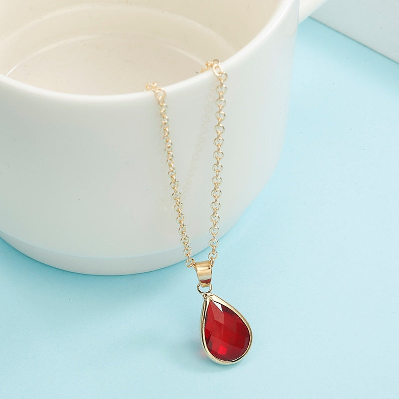 Crystal Rhinestone Pendant Necklace For Women Fashion gold Color Clavicle Necklace Wedding party Jewelry gift 6 colors