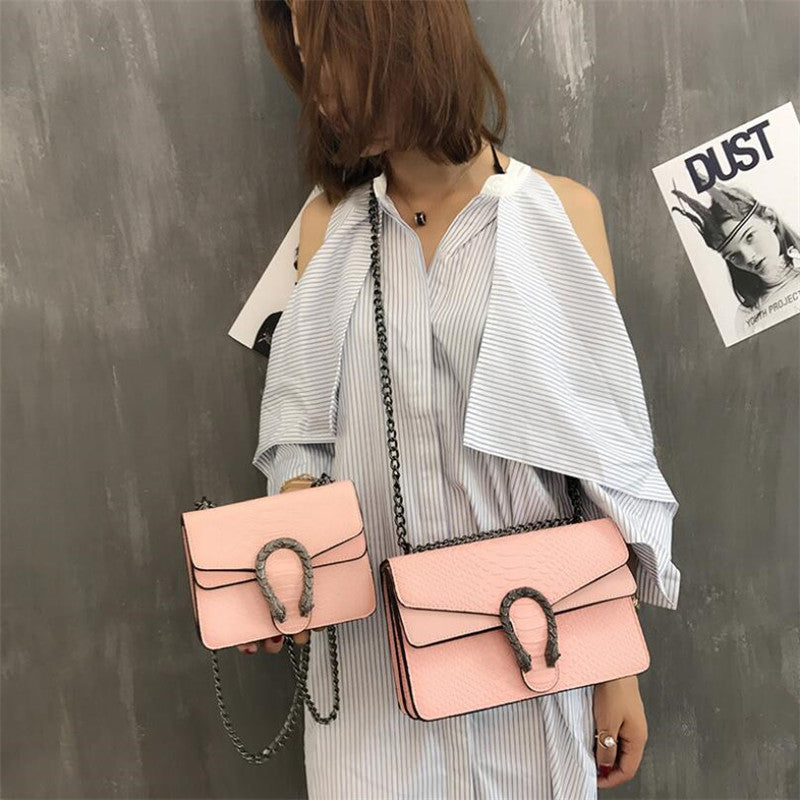 Women's Bag 2018 Version of Small Square New purse and handBag Fashion Snake Embossed Shoulder Bag Chain Messenger Bag