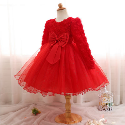 Winter Xmas Gift Baby Girls Dress Full Of Lace Party Dress Infant Baby Wear Kids 1st Birthday Oufits Flower Girl Wedding Gown