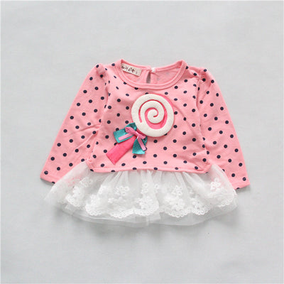 1pc Baby Girls Infant Party Dress T-shirts Toddler Sweet Cute Lollipops Full Sleeve Polka Lace Tops Dresses Costume Clothes  UpCube- upcube