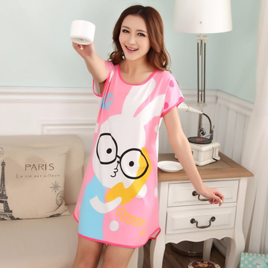 BONJEAN One size sleepwear womens short sleeve loose shirt women's night cute cartoon nightgown summer dress