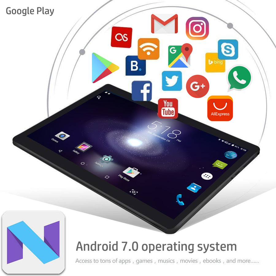 2018 Newest 10 inch Tablet PC Android 7.0 4GB RAM 32GB ROM Octa Core 8 Cores Dual Cameras 5.0MP 1280*800 IPS Phone Tablets+Gifts