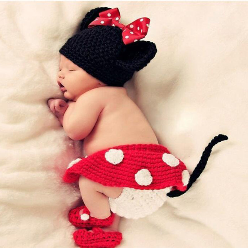84b079666b219 DreamShining Fashion Baby Hat Toddler Girls Boys Costume Knitted Cap Bow  Newborn Photography Props Handmade Crochet