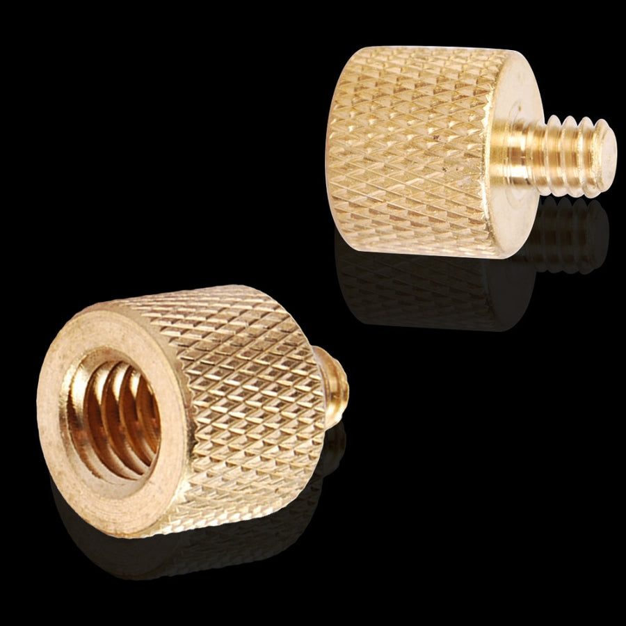 Centechia Tripod Thread Screw Adapter 3/8 to 1/4  Female Male Converter Gold Color Brass