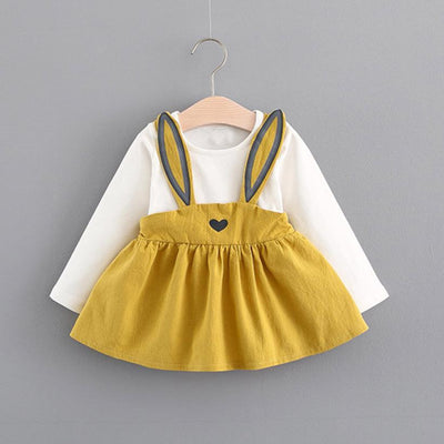 0-3 Years Old spring Autumn Rabbit Bandage Suit Mini Dress for baby girls Cute Rabbit long sleeve dress Kids Toddler Girl - upcube