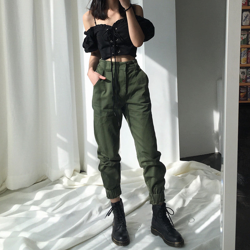 High waist pants camouflage loose joggers women army harem camo pants  streetwear punk black cargo pants 474e3d660d6f