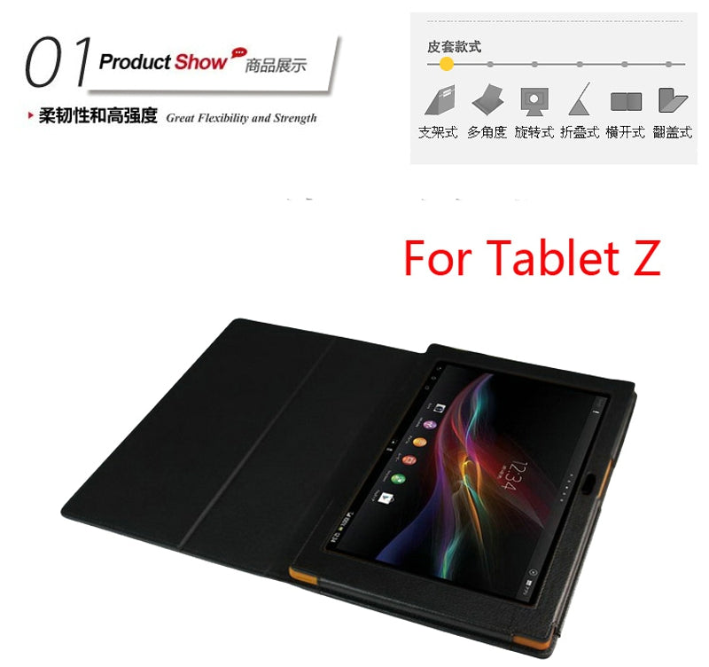 New 2-Folder Luxury Magnetic Folio Stand Leather Case Protective Cover For Sony Xperia Tablet Z SGP311 SGP312 SGP321 10.1""