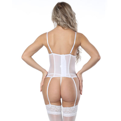 cf8e3586933 Minifaceminigirl White Lace Bustier Women Overbust Push Up Corset Sexy  Femme Lace Up Lingerie See Through