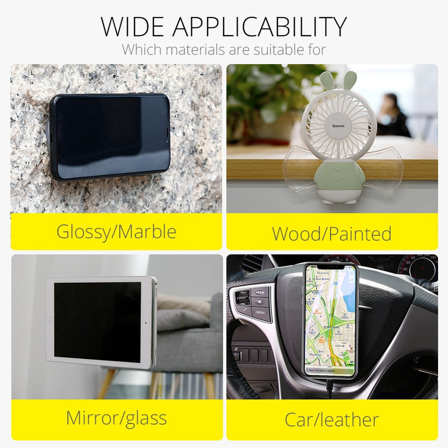 Baseus Universal Mobile Phone Holder For Tablet Car Phone Holder Strong Adsorption Wall Desk Sticker Paste Holder Stand