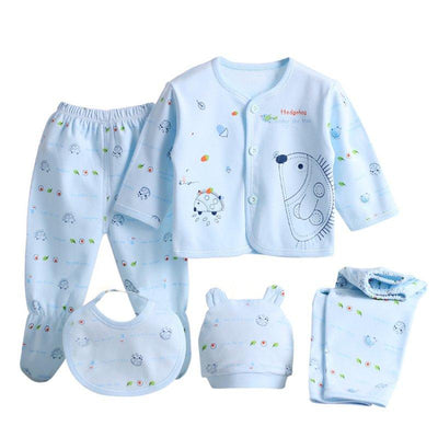 0-3 Months Baby Clothes Set Newborn Boys Girls Soft Underwear Cartoon Shirt and Pants Cotton Clothing 3 Colors - upcube