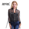 New Women Long Sleeve UV Protective Shiny Jacket Summer Transparent Zipper Sunscreen Casual Baseball Bomber See-through Outwear