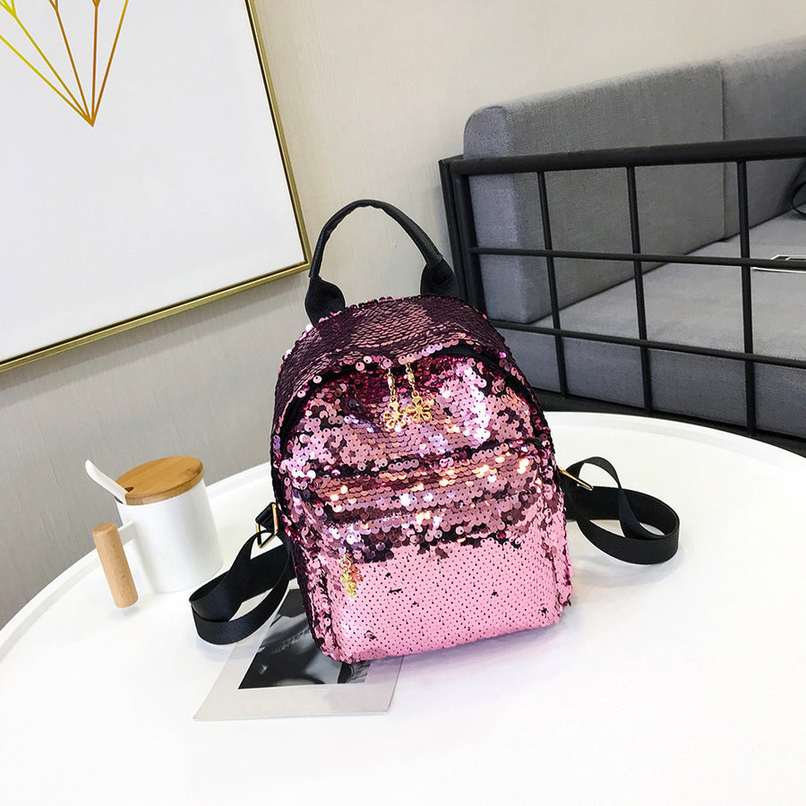 Aelicy High Quality Fashion Women's Shinning Glitter Bling Backpack Sequins PU Leather Mini Backpack Preppy Travel School Bag