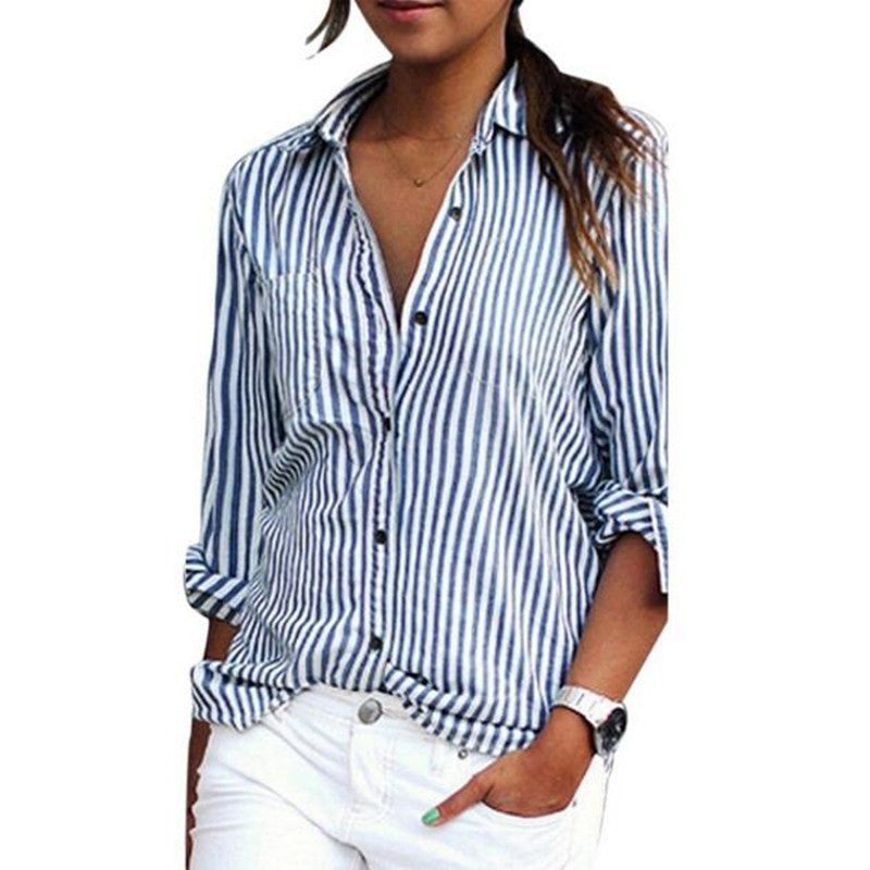 a503edcdc2e37c 2017 Women Blouse Striped Long Sleeve Shirt Turn-Down Collar Loose Autumn  Fall Casual Tops