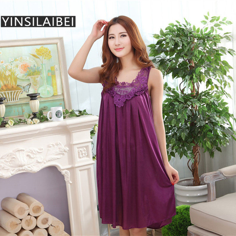 Embroidery Summer Ladies Sexy Sleepwear Female Ice Silk Satin Night Dress Women Nightwear Plus Size Satin Nightgown #10