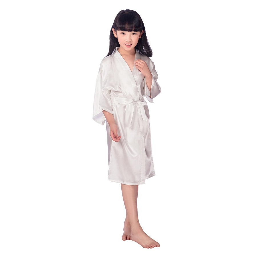 2016 Satin Pajama Kid / Children Sleepwear Wedding Flower girls Gown High Quality Kimono Robes Solid Color Nightgown